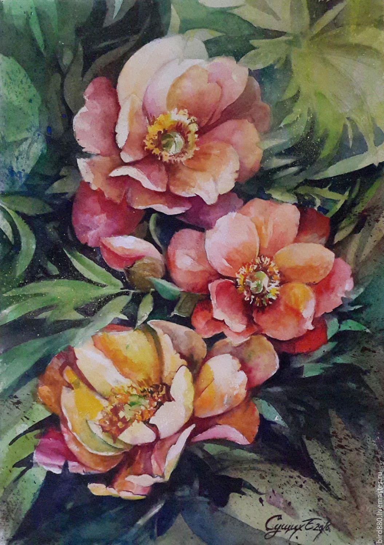 """Купить """"Куст пиона"""" картина акварелью - коралловый, пионы, акварель, акварельная картина, акварельная живопись"""