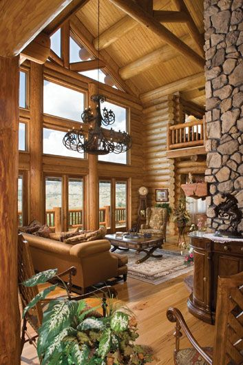 Log Cabin Homes, Hilldale, UT | Utah Milled Great Room