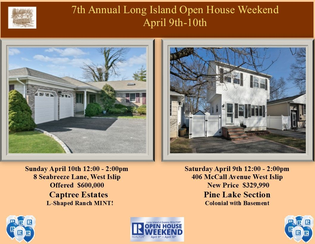 Open Houses April 9 10 Visit And Get The Chance To Win 2 Long Island Ducks Tickets All Season Long New Drawing Every Mont Open House Pine Lake L Shaped Ranch