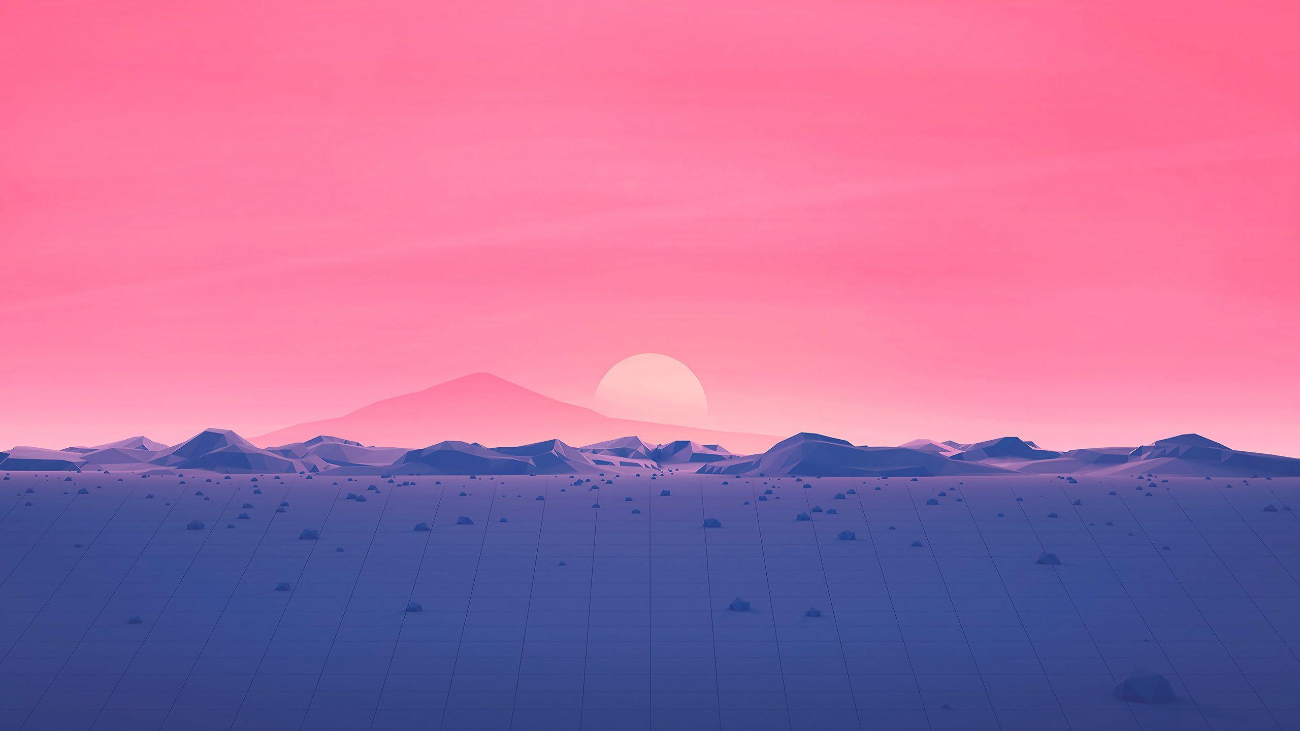 Polygon Surface Mountains Sunset [2560x1440] 배경, 컴퓨터 바탕