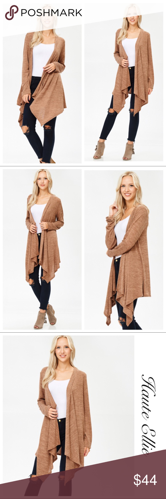 angled open front cardigan camel open front cardigan camels