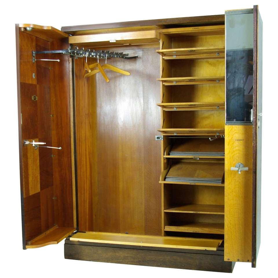 Art deco mahogany compactom armoire wardrobe fitted