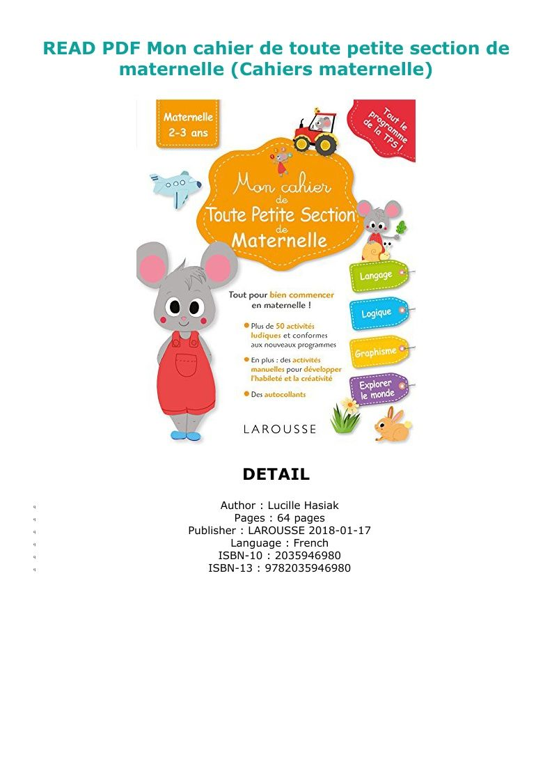 Pdf Download Mon Cahier De Toute Petite Section De Maternelle Cahiers Maternelle Ebook Pdf Download Read Audibook Reading Online My Books Reading