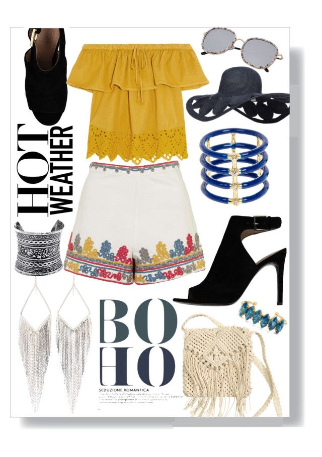 """""""Boho summer outfit"""" by brittneybraley ❤ liked on Polyvore featuring Tory Burch, Topshop, Madewell, Jules Smith, Elizabeth and James, H&M, LULUS and Elizabeth Cole"""