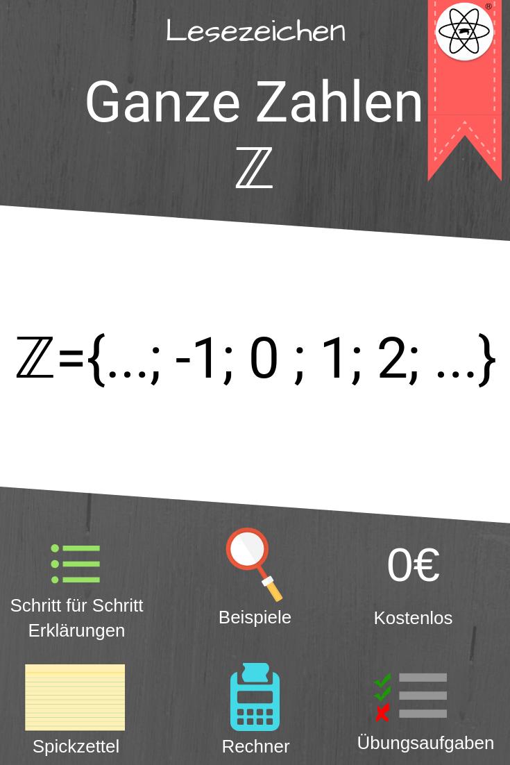 Lesezeichen zu den ganzen Zahlen. Einfach Mathe lernen bei Studimup ...