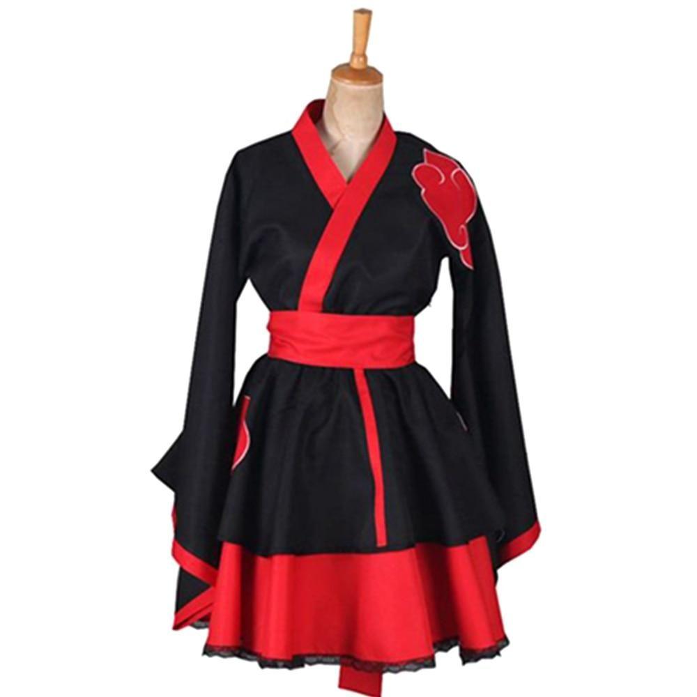 Photo of Anime Naruto Lolita Dress Women NARUTO Cosplay Costume Akatsuki Kimono Maid Dress Uchiha Sasuke Halloween Carnival Clothes Suit – Akatsuki Kimono / XXXL