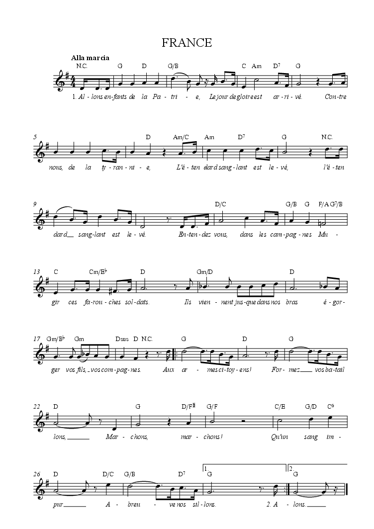 France national anthem tune words chords music things france national anthem tune words chords hexwebz Gallery