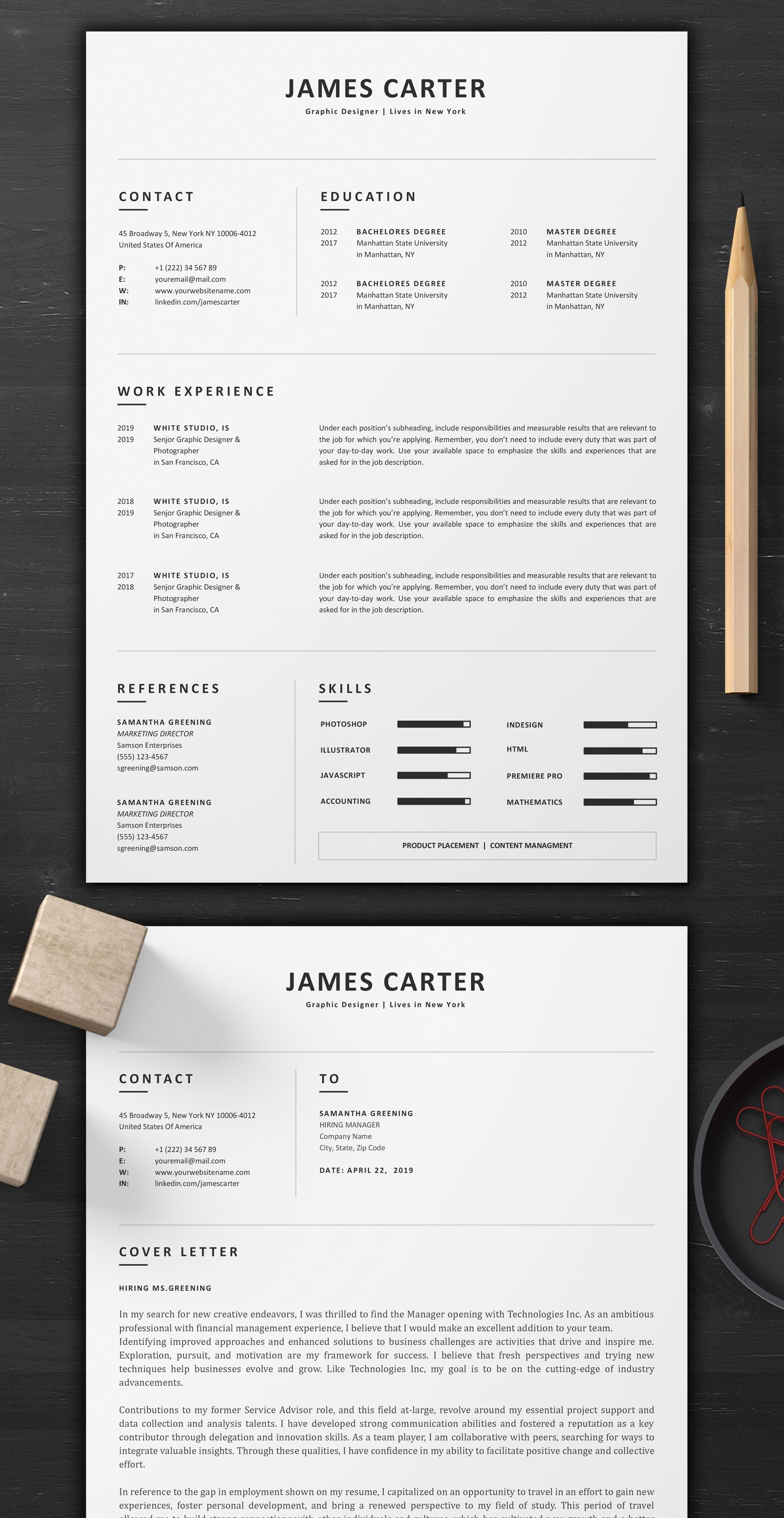 Resume Template Word 1 Page Resume Creative Resume And Modern