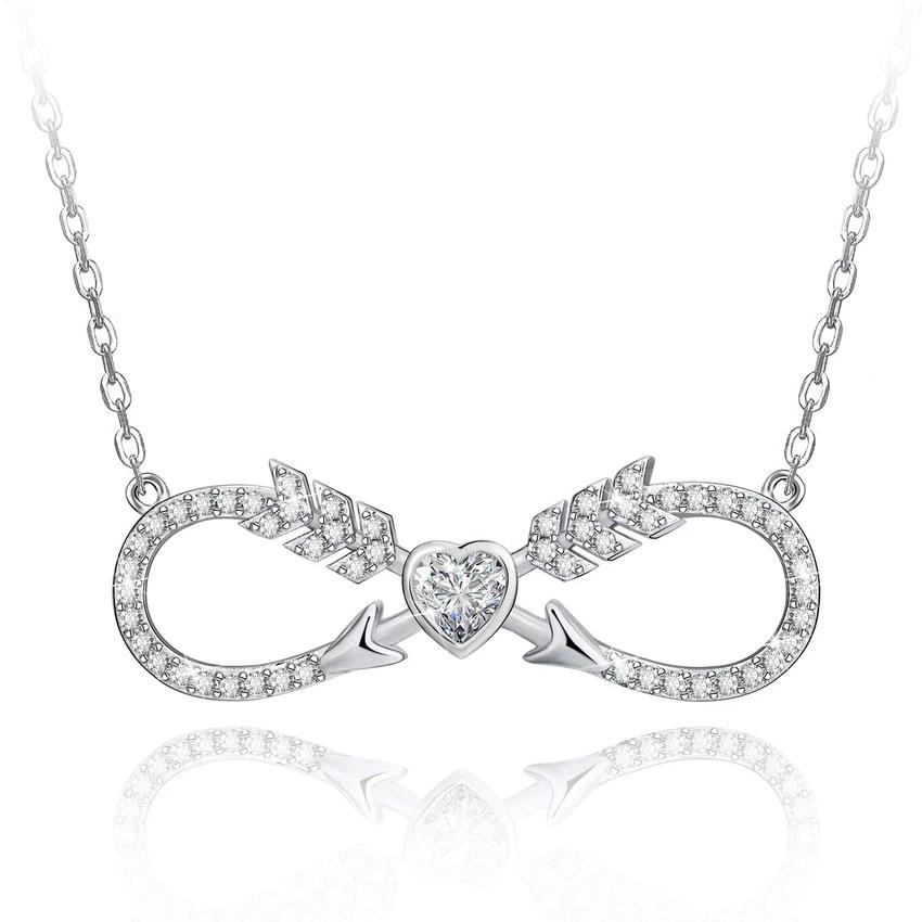 Nfinity Necklace Love Heart Cz Double Arrow Silver Jewelry Arrow Jewelry Love Necklace Infinity Necklace