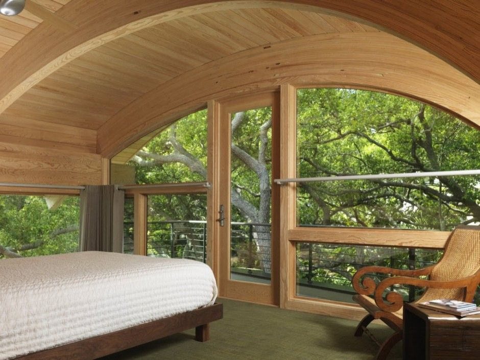 bedroom design with curved ceiling in small beautiful guest house