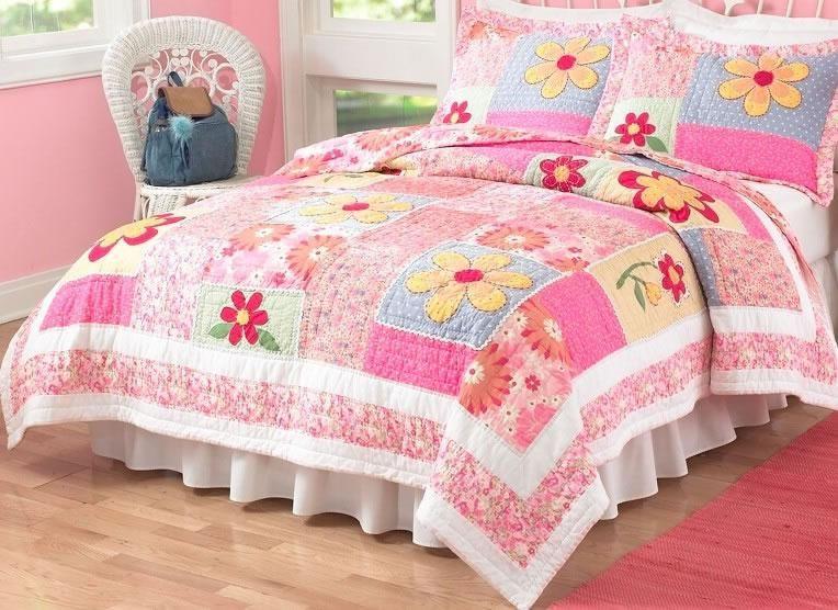 olivia pink quilt set
