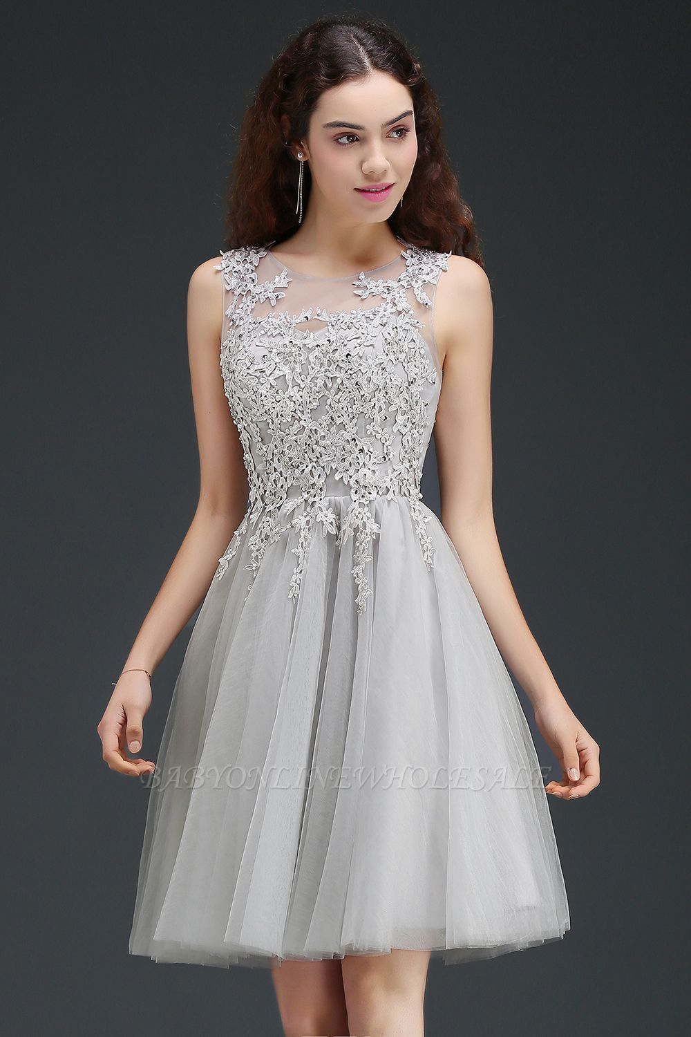 ANNA  A-line Short Modern Homecoming Dress With Lace Appliques