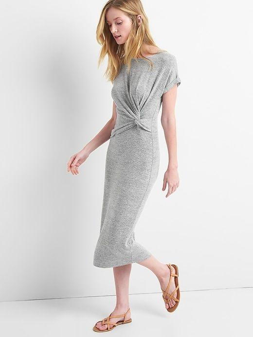 b256abfa4d9 Gap Womens Softspun Midi T-Shirt Dress With Twist-Knot Detail Light Grey  Marle