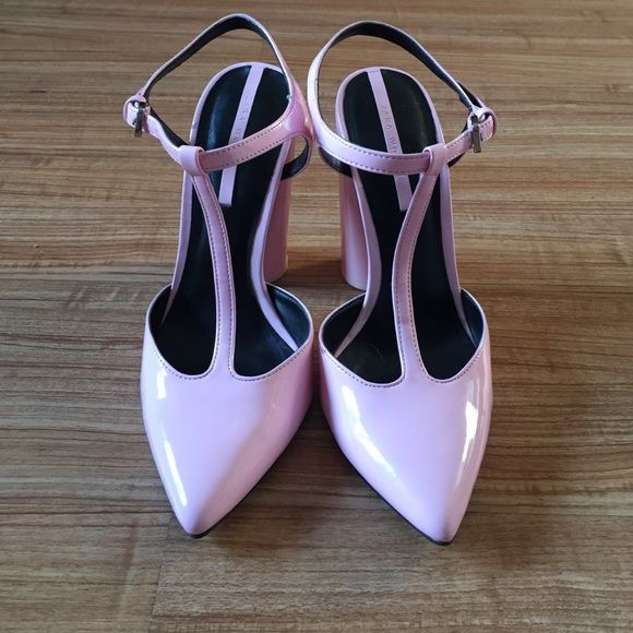 Zara pink platform heels Gorgeous T-strap shoe that was worn once. Shoe is patent leather. The platform heel makes it very easy to walk in. In mint condition. Zara Shoes Platforms