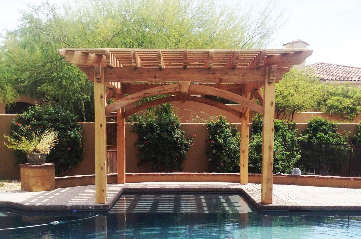 Solid cedar wood timber frame 16′ x 16′ DIY pergola kit. Features 2′  Cantilever on all four sides, wrap around roof with Roosevelt beam and  rafter end ... - Shaded Swimming Pool: Timber Frame DIY Pergola Kit Pinterest Diy