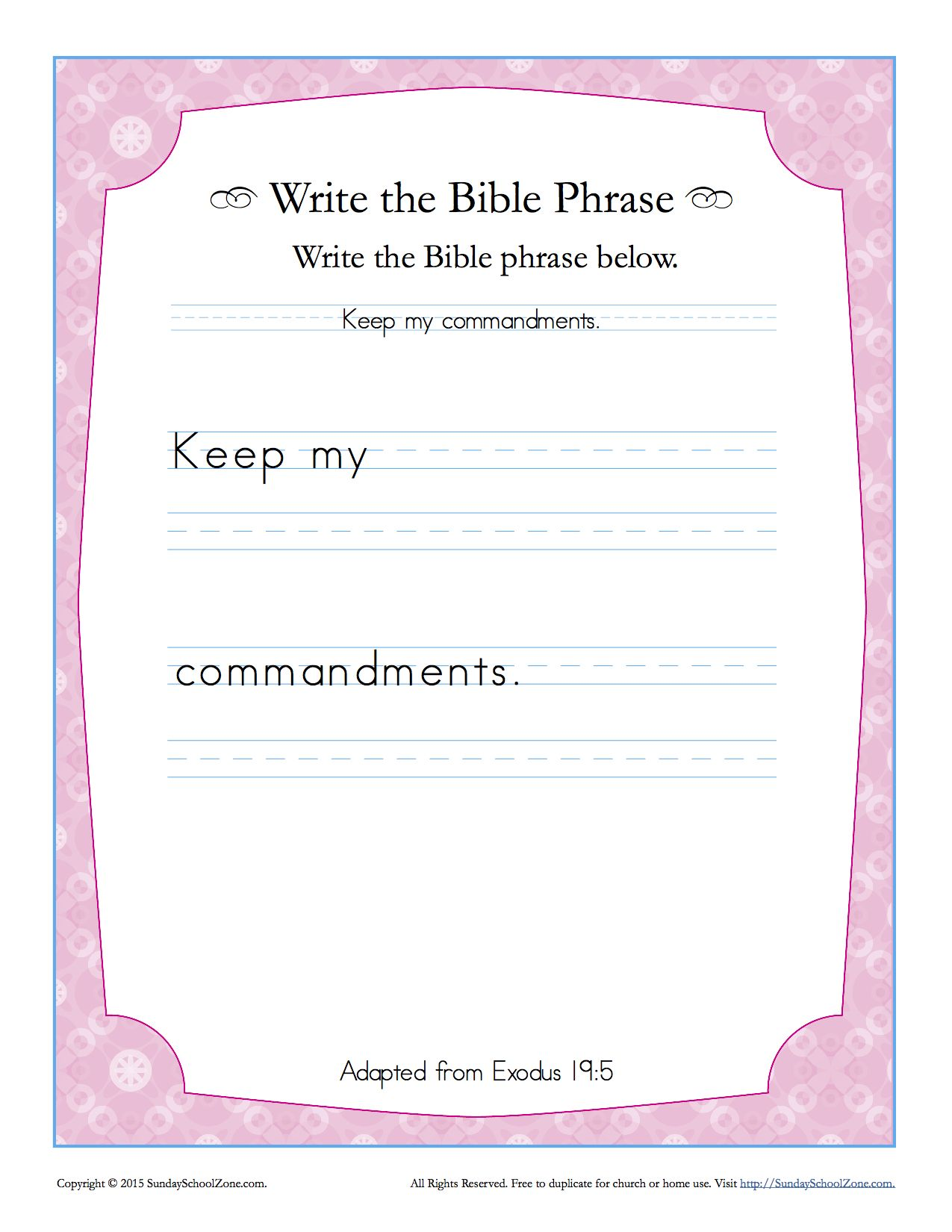 Exodus 19 5 Write The Bible Phrase Worksheet