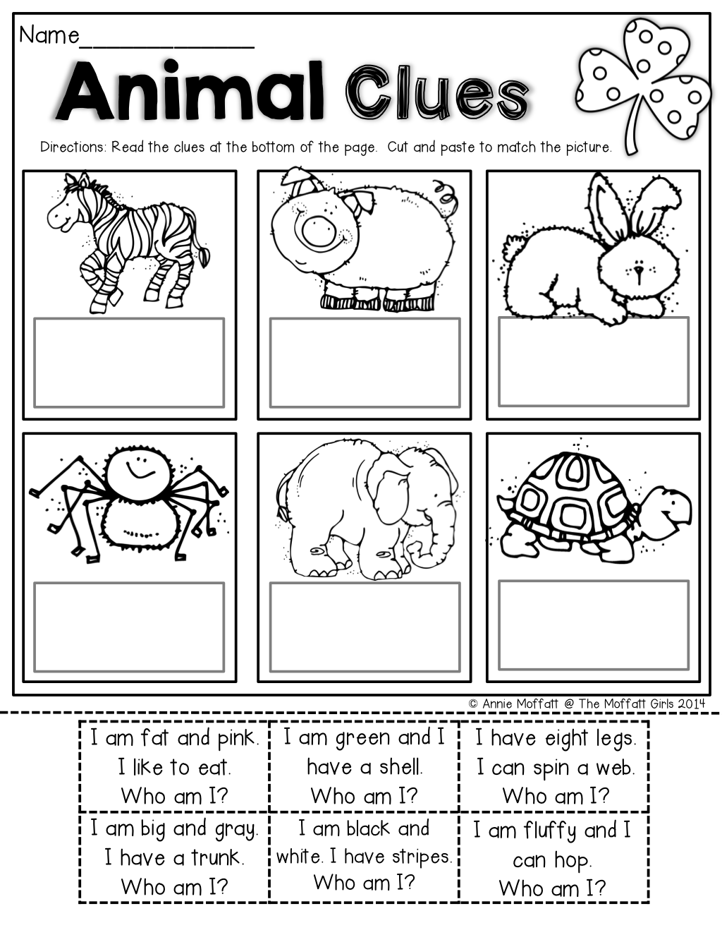 Read SIMPLE sentence clues, cut and paste to match the picture ...