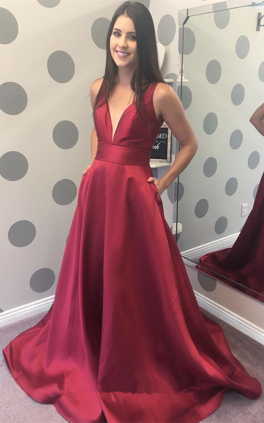 Gorgeous V Neck Burgundy Long Prom Dress from modsele  3be54e912