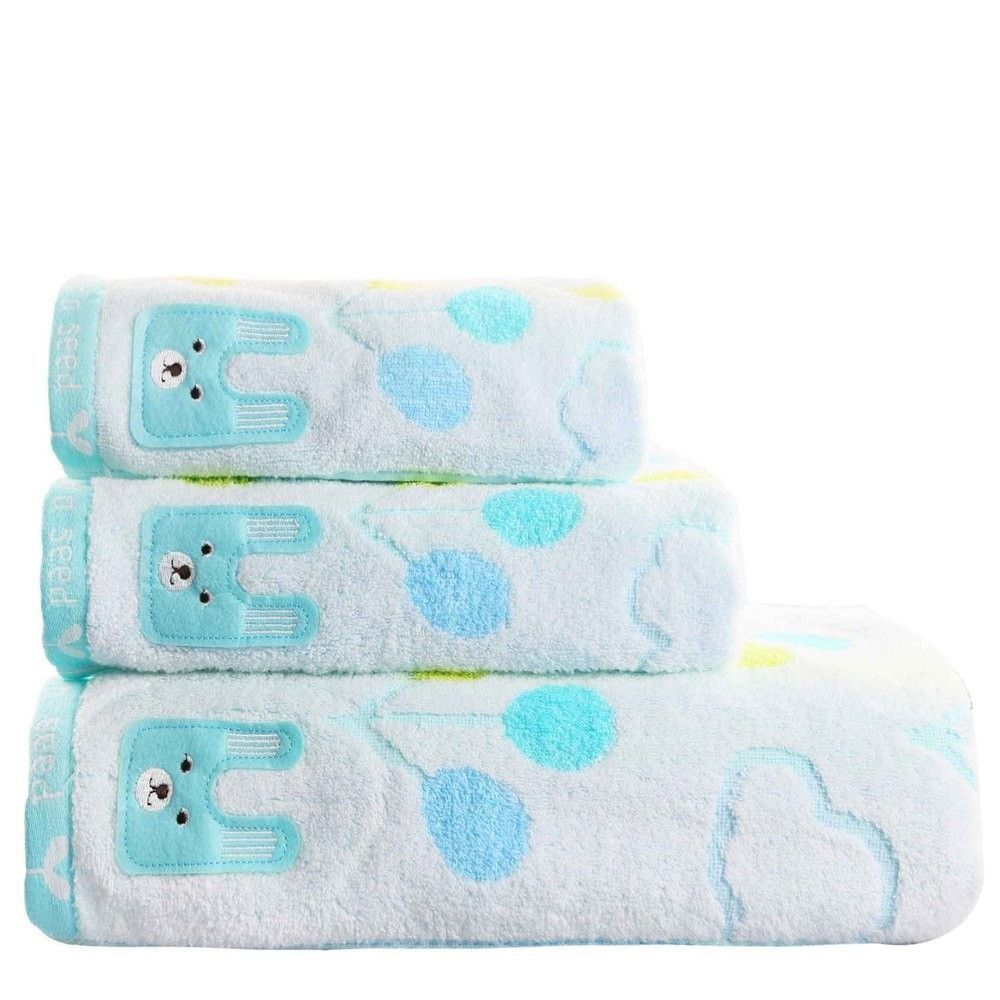 Soft Plush 3-PC Rabbit Embroidery 100% Cotton Face/Hand Towel Set 2 ...