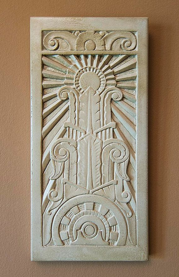 art deco relief sculpture by vokoban on etsy 57 my friend jeff makes these gorgeous bas. Black Bedroom Furniture Sets. Home Design Ideas
