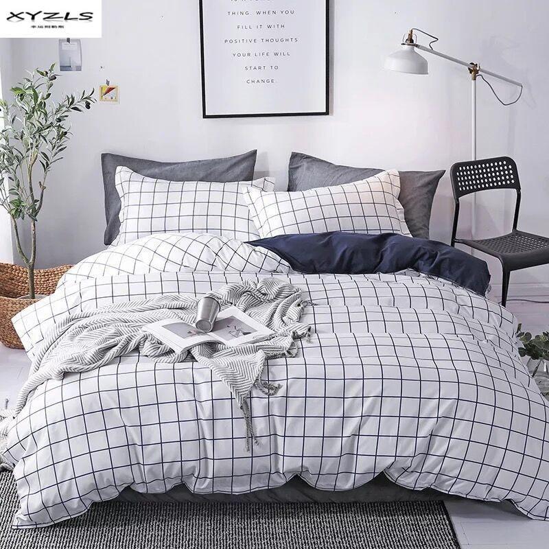 XYZLS Japan Style Bedding Set Simple Plaid Pattern Duvet