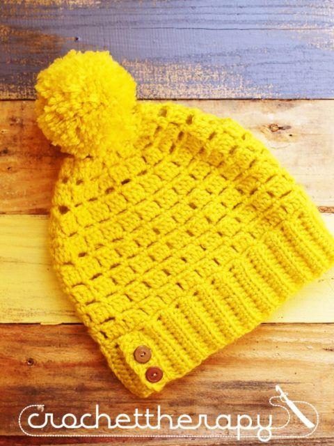 Free Crochet Block stitch slouchy hat pattern | Crochet Hats, and ...
