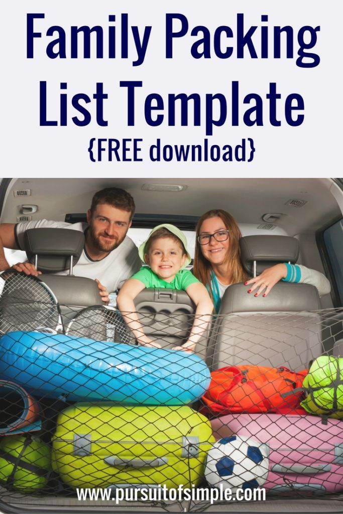 Family Packing List Template - Never make another packing list again