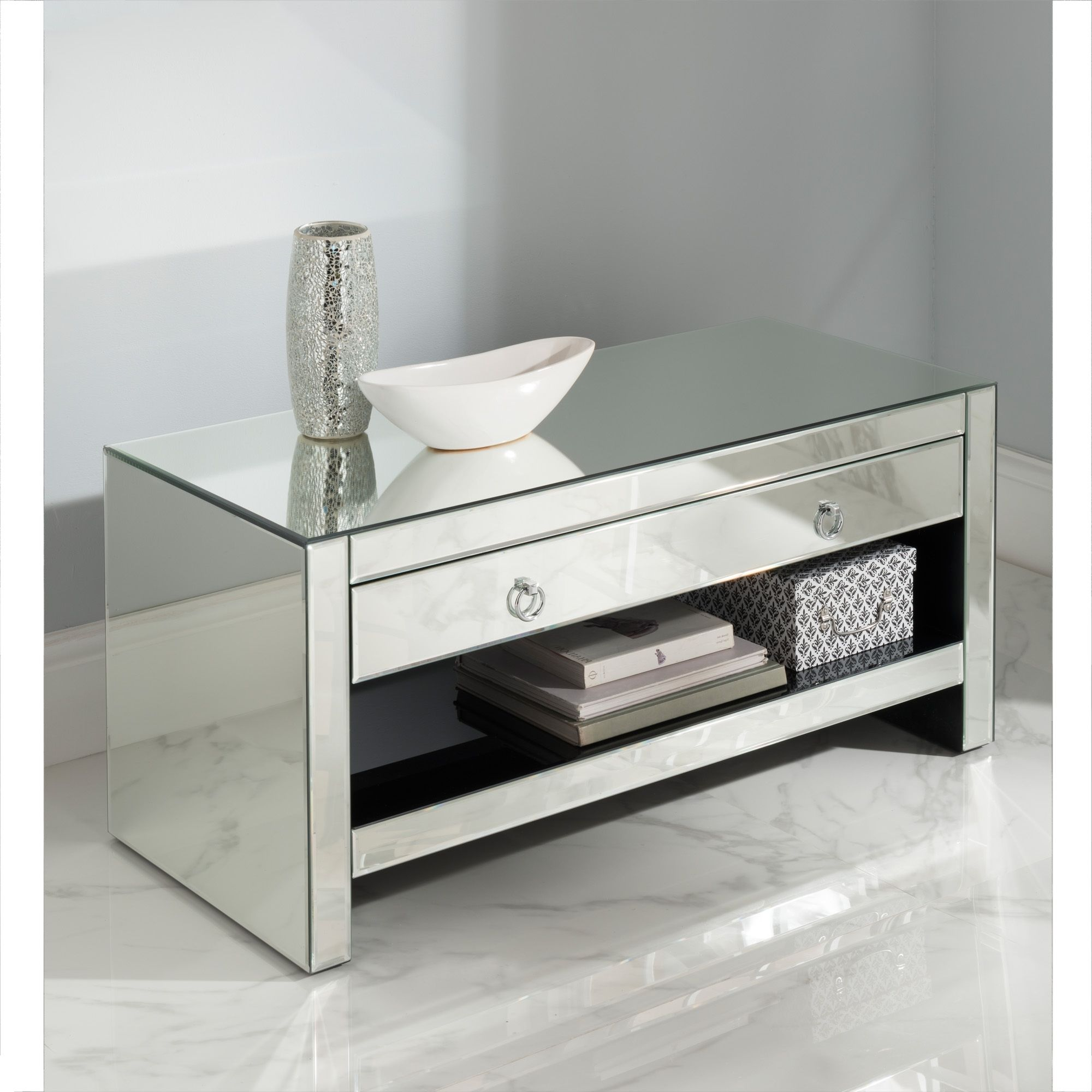 Mirrored Tv Cabinet Gl Venetian Furniture Homesdirect365