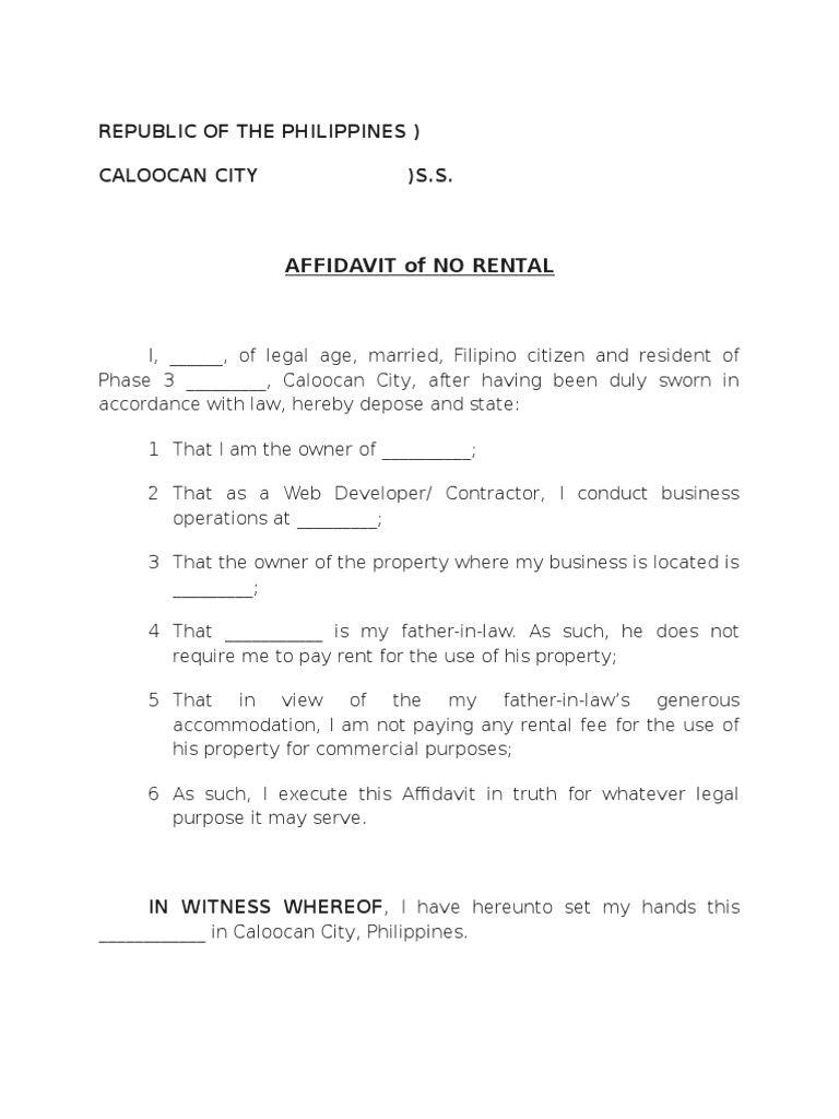 Affidavit Of No Rental Sample mughals Rental