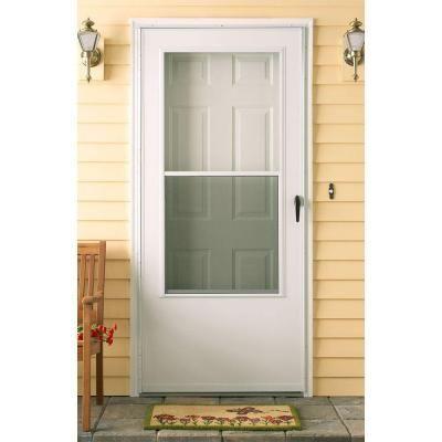 Emco 30 In X 80 In 100 Series White Self Storing Storm Door E1ss 30wh Storm Door Glass Storm Doors Mobile Home Exteriors