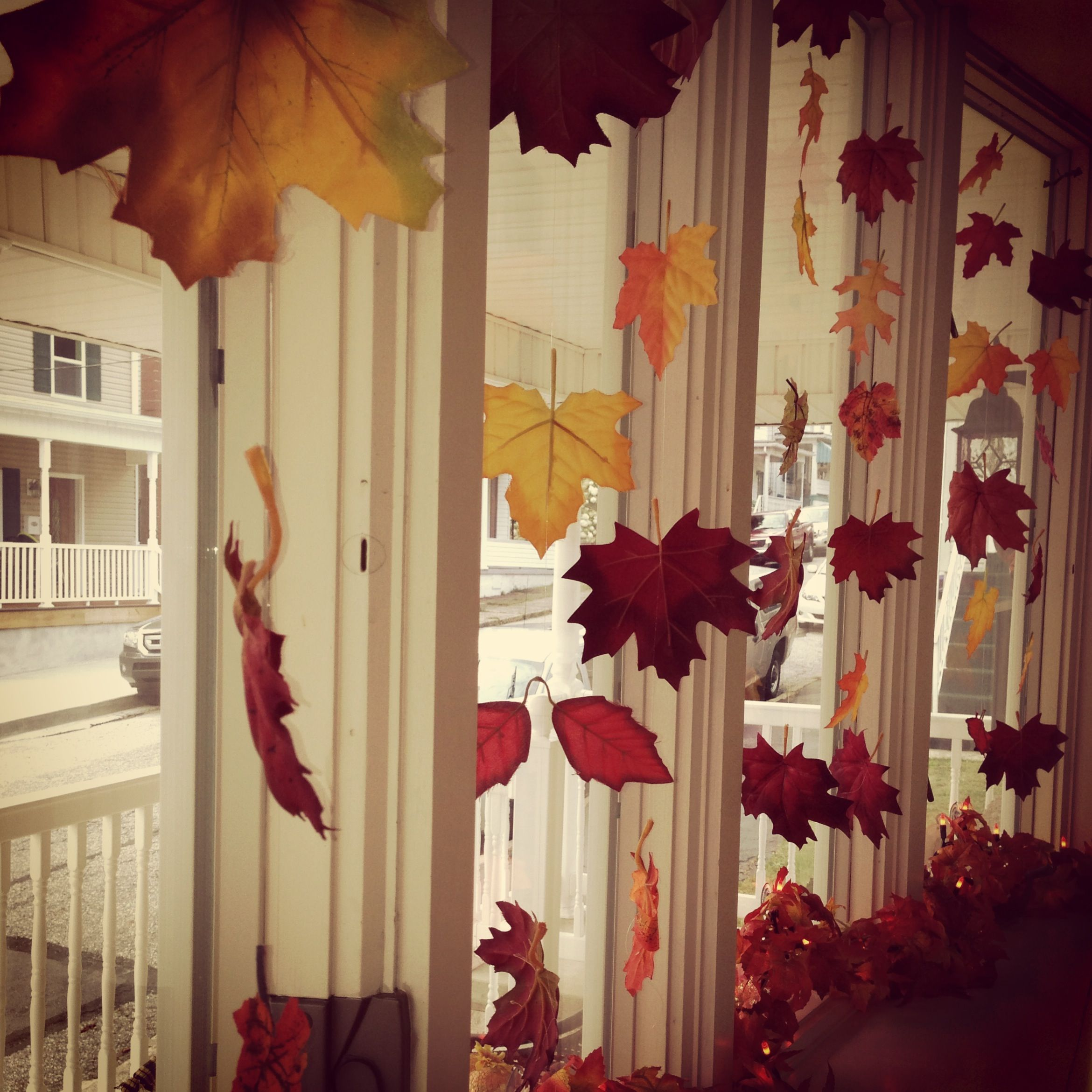 Fall Bay Window Decorating Idea Fabric Leaves Tied Onto