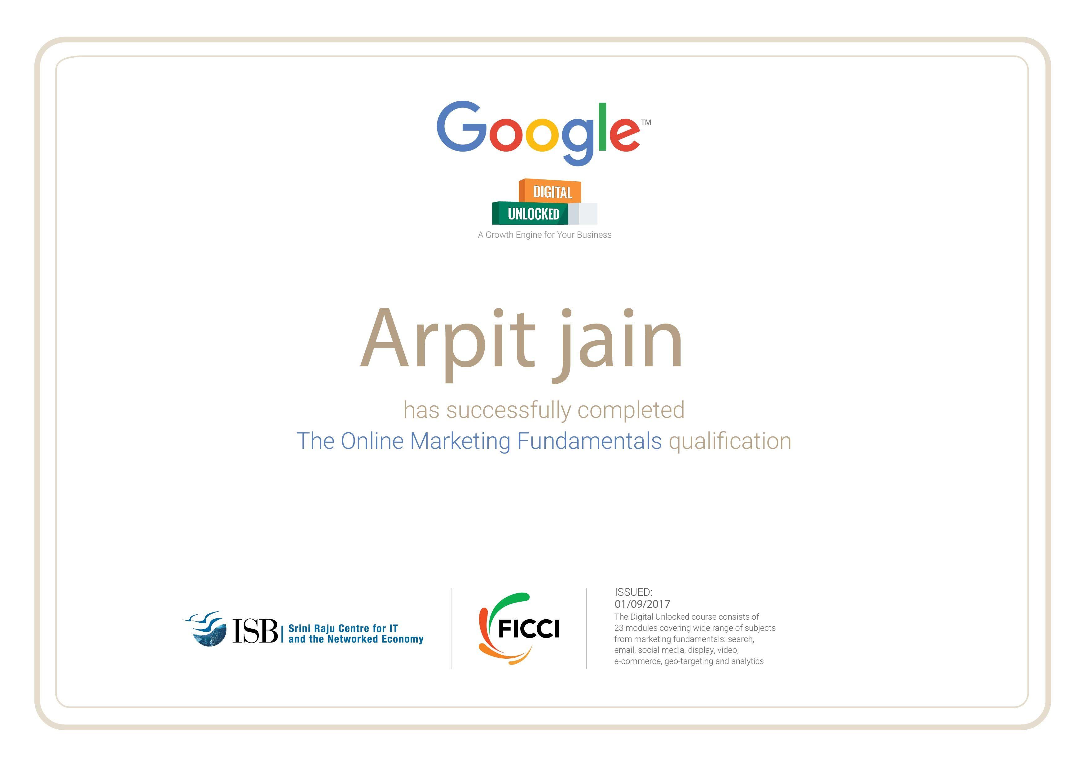 Digital Unlocked Certification Digital Garage Google