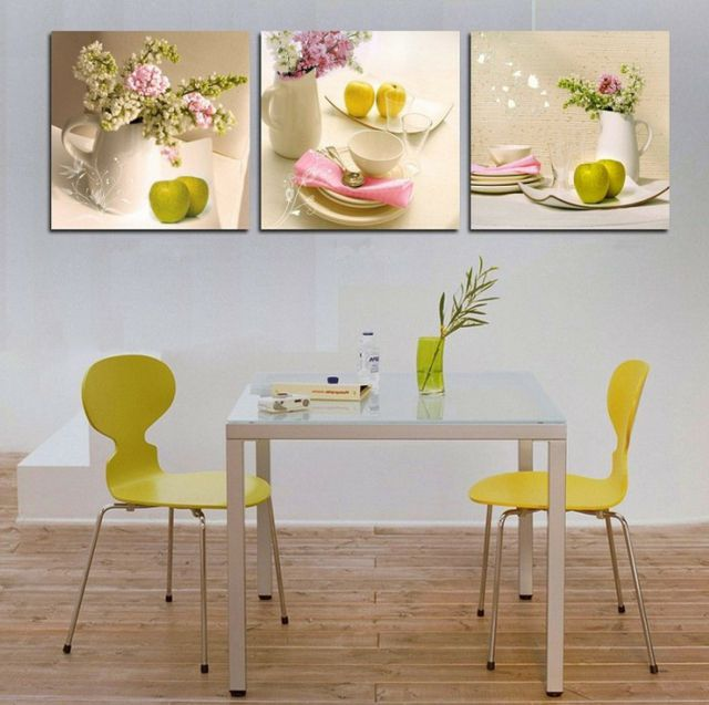 Cuisine à La Décoration Printanière Inspirée Par Les Fleurs Déco - Tableau cuisine design pour idees de deco de cuisine