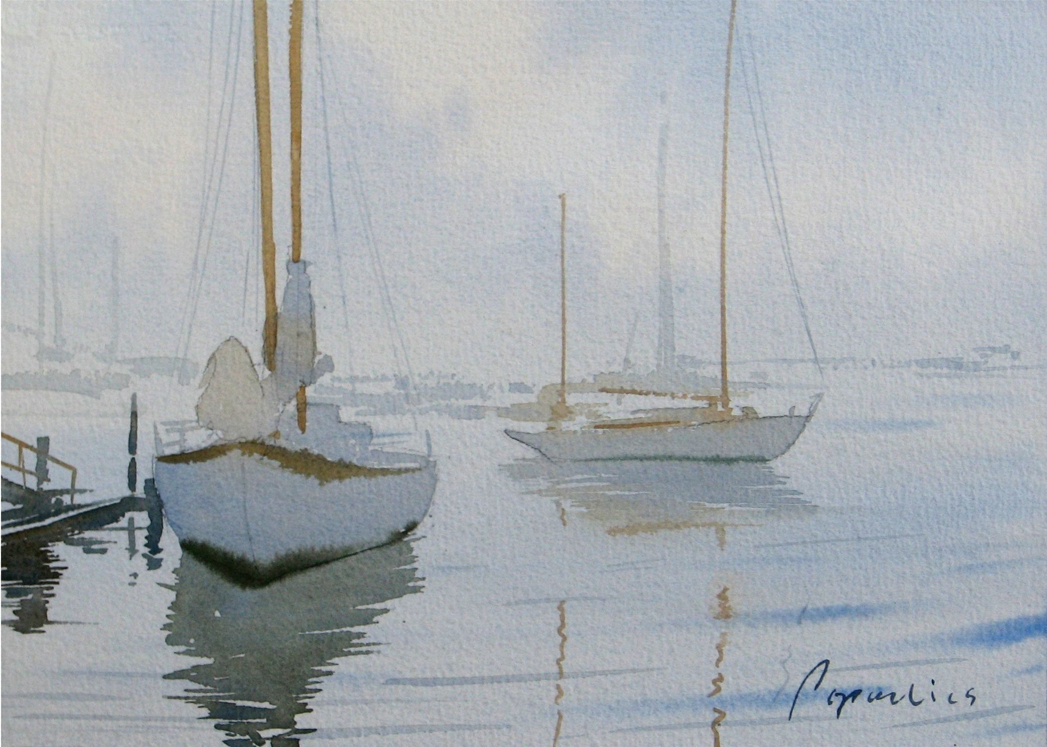 White Sloops in the Marina
