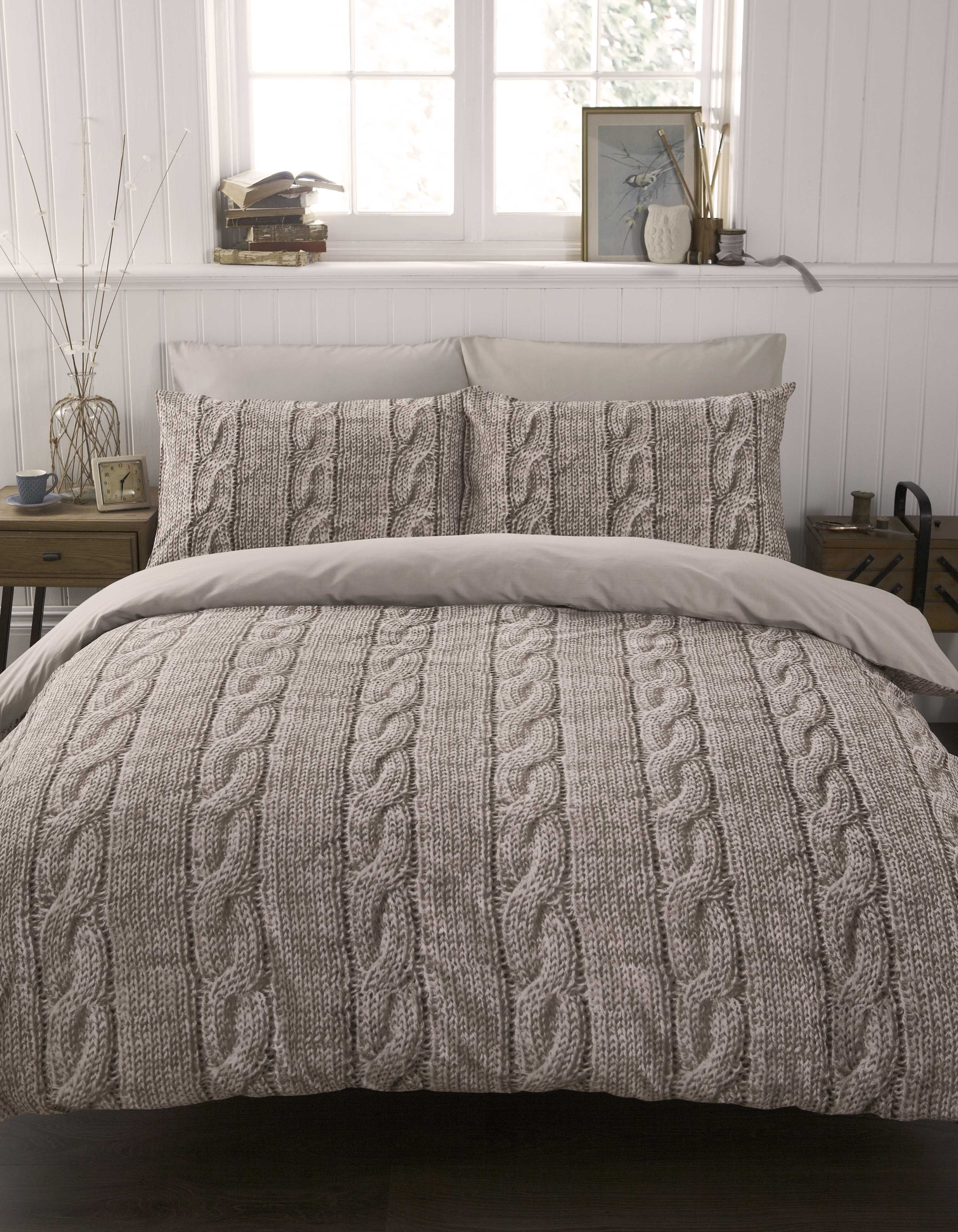 Bedding Cable Knit Duvet Cover Set Double Yorkshire Linen Home Bedroom Home Home Decor