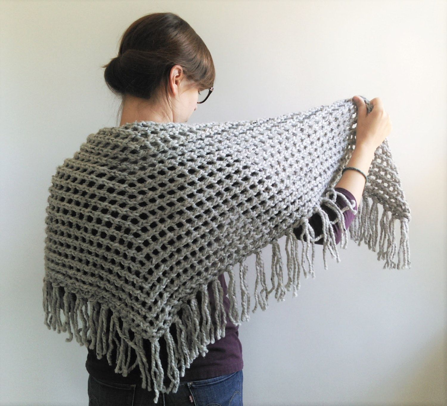 Triangle Scarf Knitting Pattern // Lace Triangle Shawl Pattern // Chunky Knit...