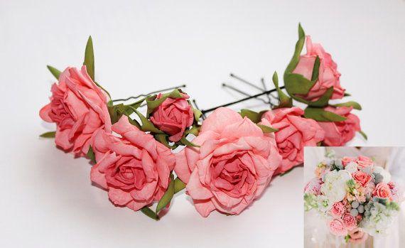 843848da1 Coral Wedding Hair Pins Bridal Hair Accessory Prom Flower Hair Clip Pink Flower  Hair Pin Coral Flora