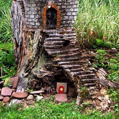 Tronc DArbre  Fairy Garden    Lutins Maisons De Fes