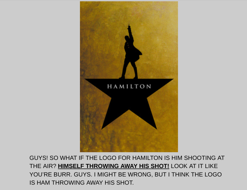 This Is A Bit Of A Well Known Thing But Has Nobody Thought That The Color Of The Background Is Yellow Go Hamilton Funny Hamilton Musical Hamilton Background