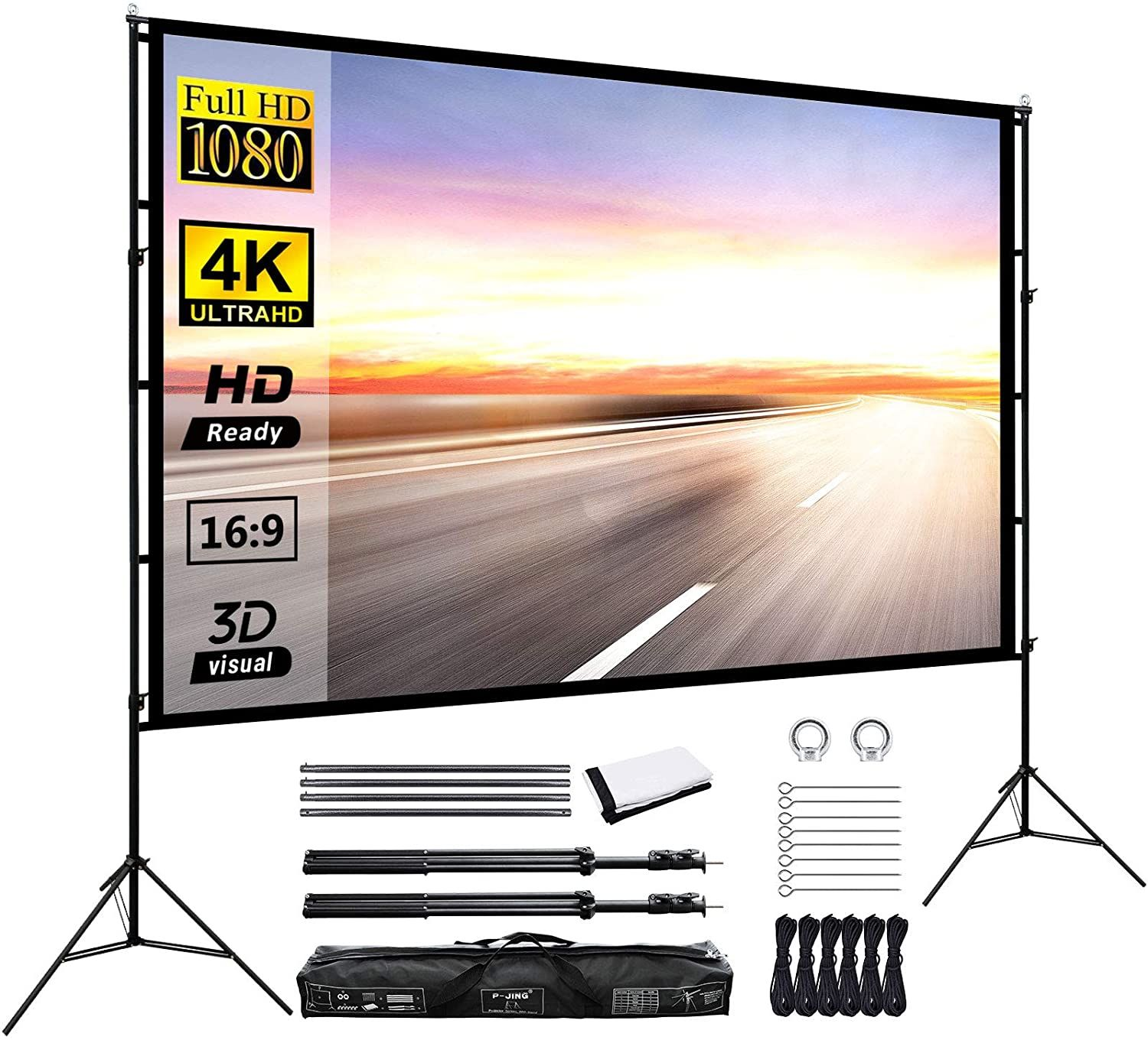 Projector Screen With Stand 120inch Portable Projection Screen 16 9 4k Hd Rear Front Projections Movies Sc Outdoor Projector Best Projector Screen Movie Screen