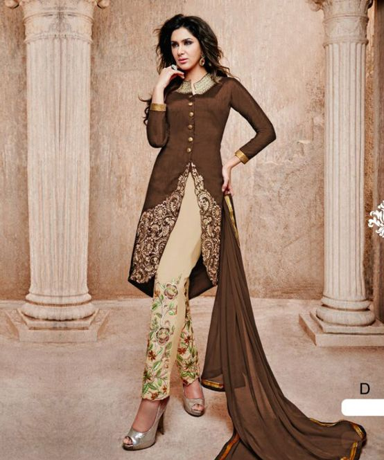 4f9959054 Thankar brown and off white banglori silk straight suit in 2019 ...