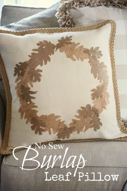 stonegable fall no sew burlap leaf pillow diy maison d automne oreillers d