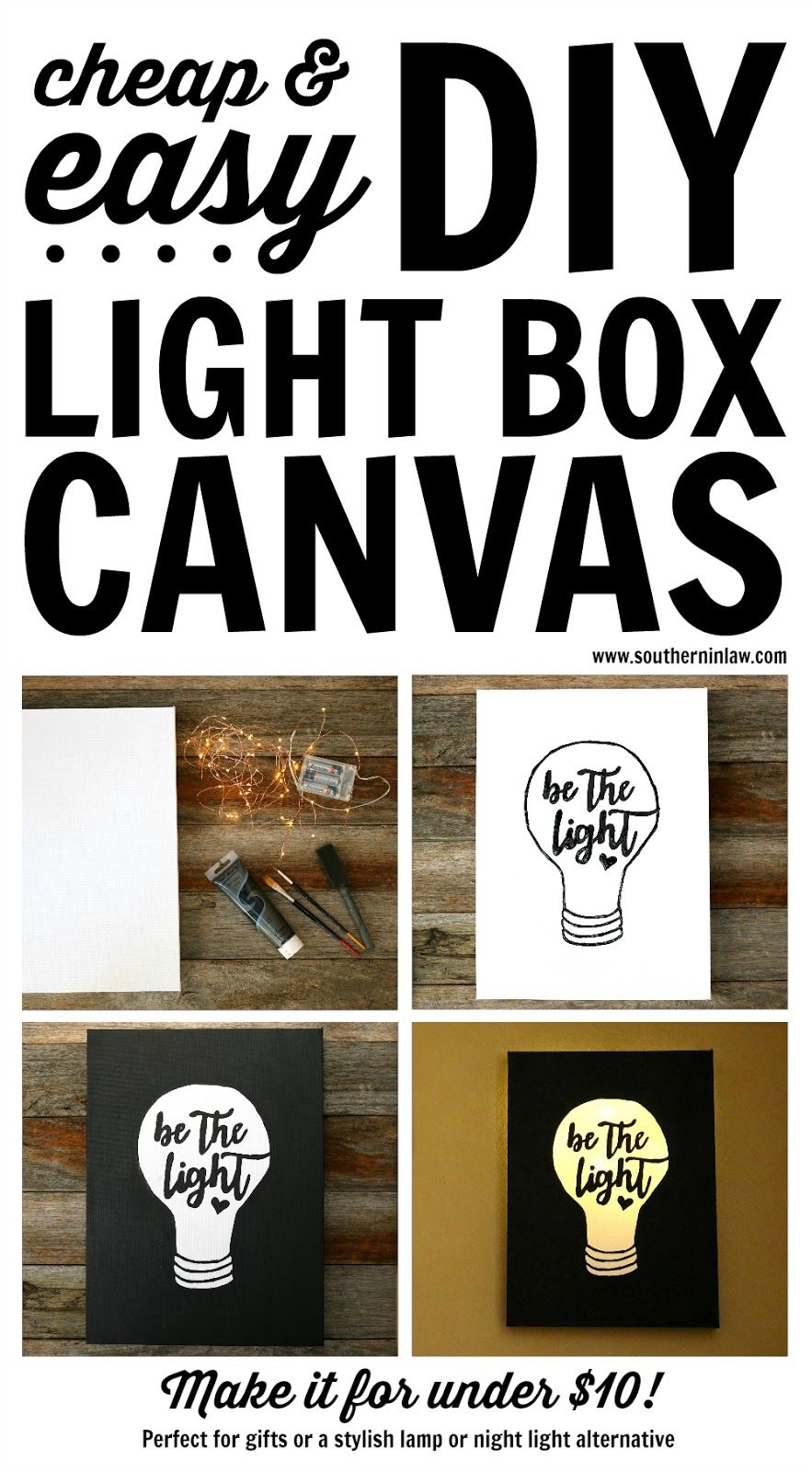 DIY: Easy Canvas Light Box Tutorial (Made for Under $10!)