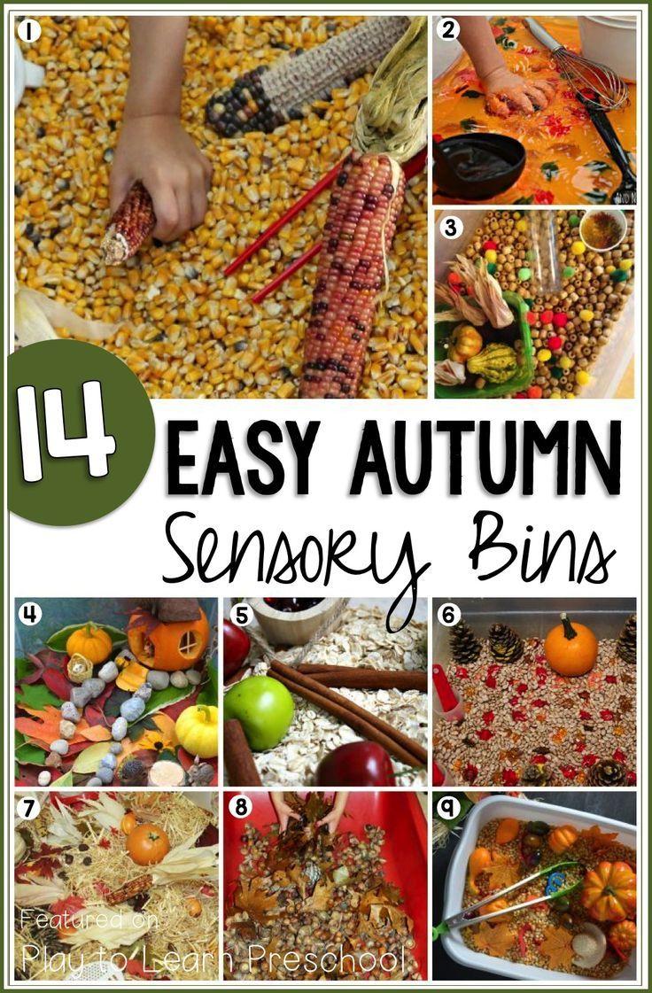 Irresistible Fall Sensory Bins for Preschoolers