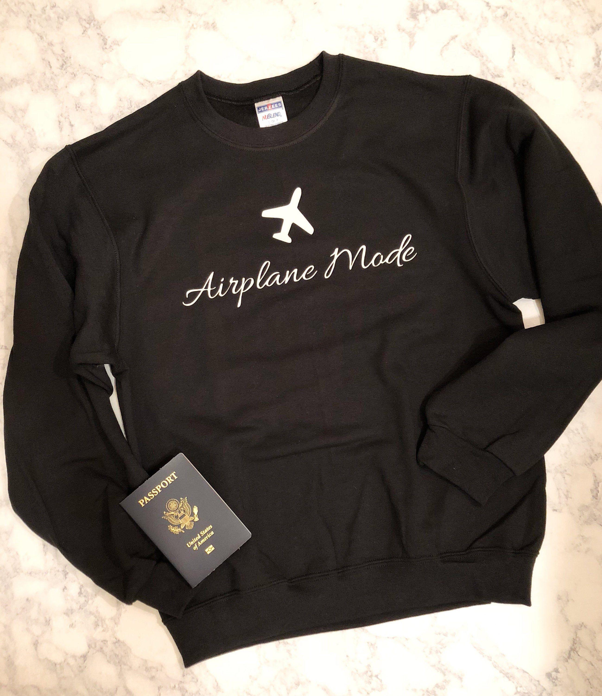 Unisex Sizing Gray Airplane Mode Sweatshirt