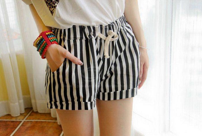 Sweet Drawstring Waist Design Slim Fit Shorts For Women (STRIPES,ONE SIZE) China Wholesale - Sammydress.com