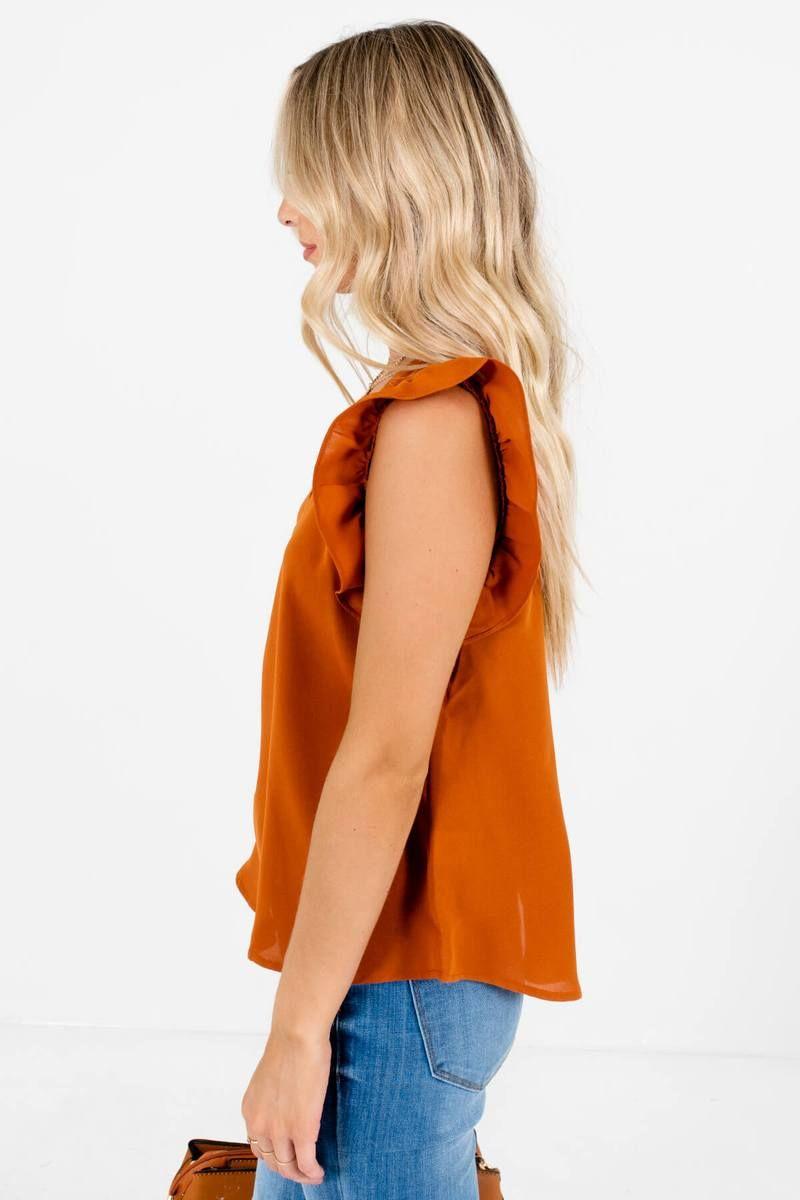 Brunch date rust orange blouse orange blouse cute