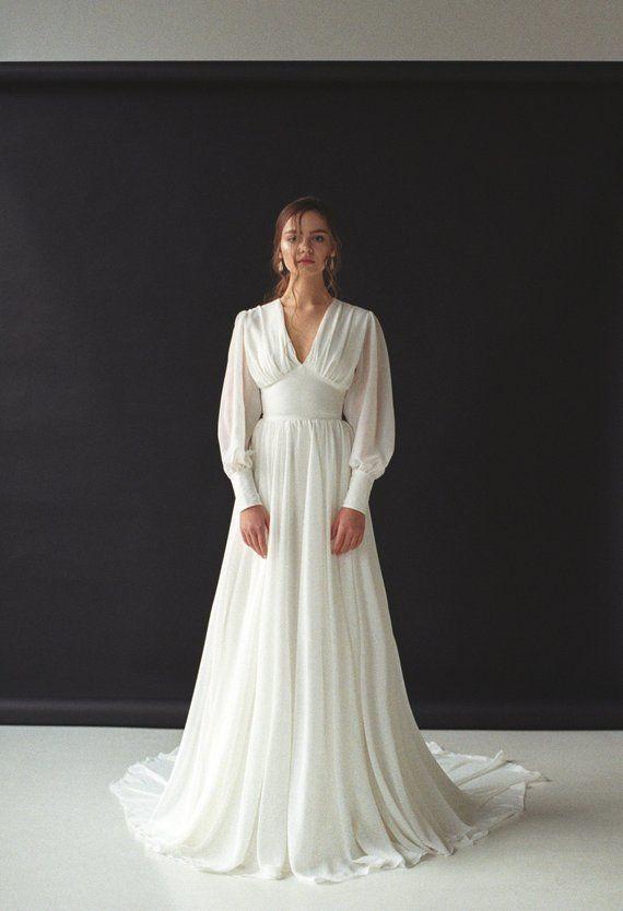 Boho Bohemian Wedding Dress Boho Bohemian Vneck Bridal Gown Chiffon Wedding Dress Modern Min Boho Bohemian Wedding Dress Boho Bohemian Vneck Bridal Gown Chiffon Wedding D...