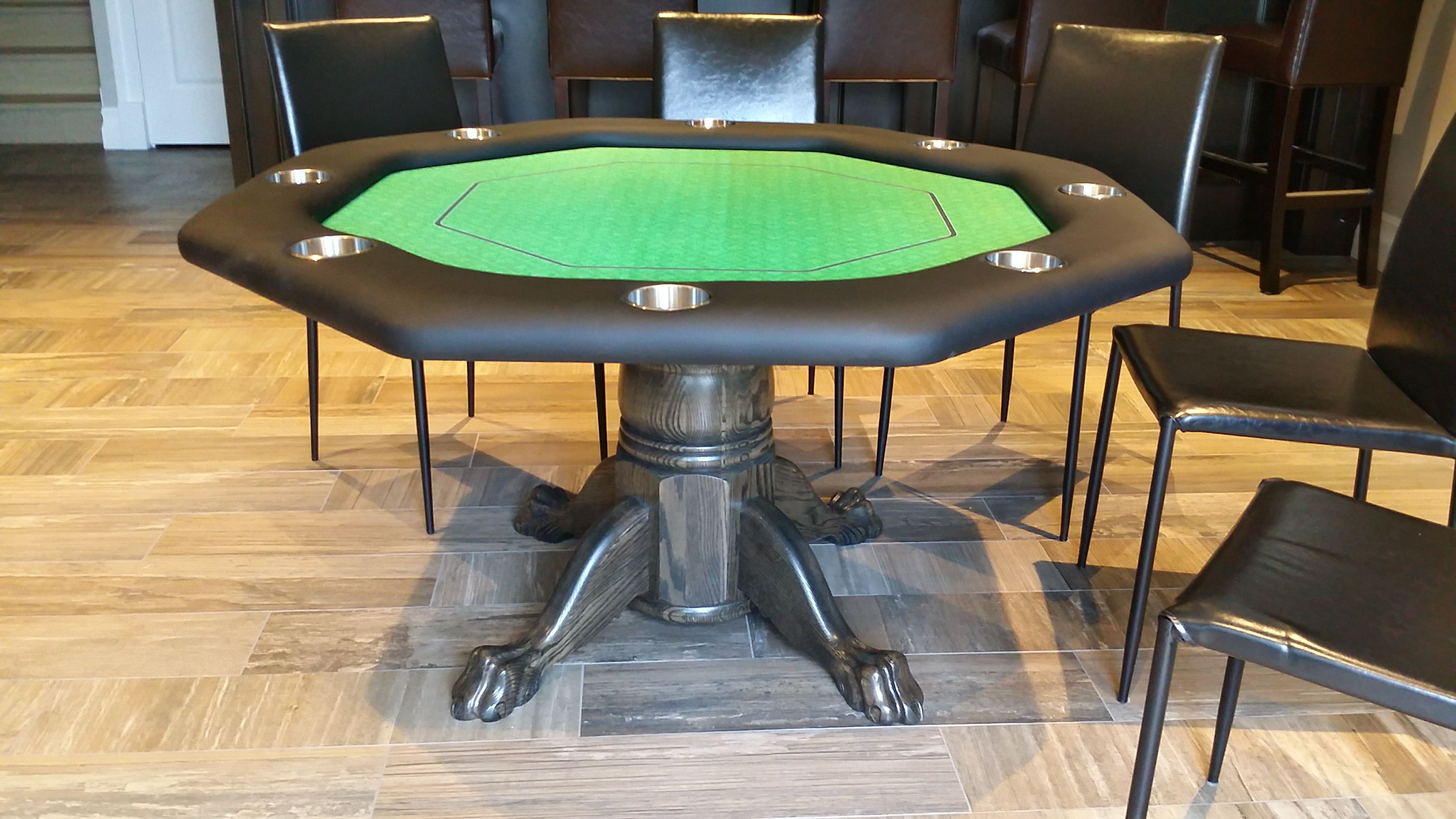 Octagon Poker Table With Oak Pedestal And Claw Toed Feet Poker Table Octagon Poker Table Table