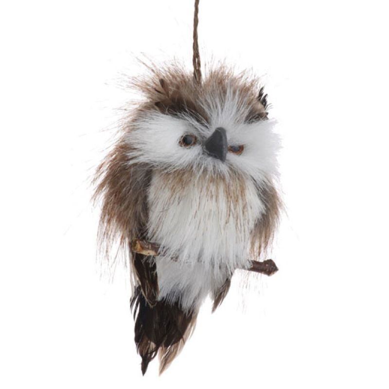 6 Fuzzy Brown Feather Snowy Owl Perched Christmas Ornament